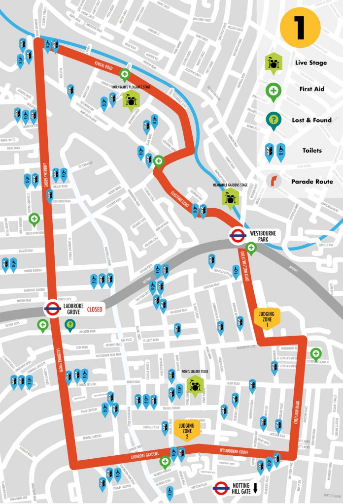 Notting Hill Carnival Route Map 2018 First Aid Toilets