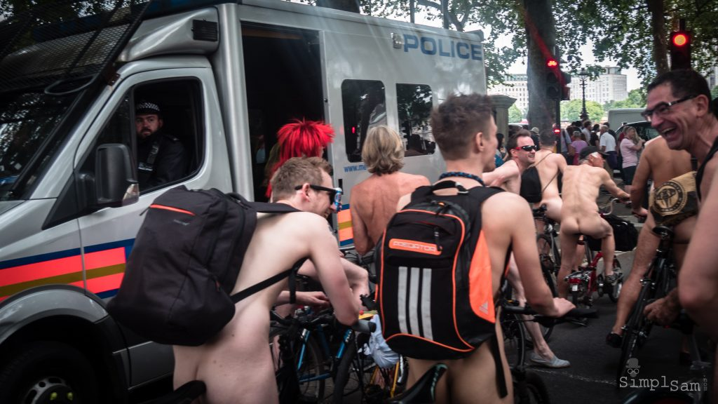 WNBR World London Naked Bike Ride 2018 - Police keeping a watchful eye