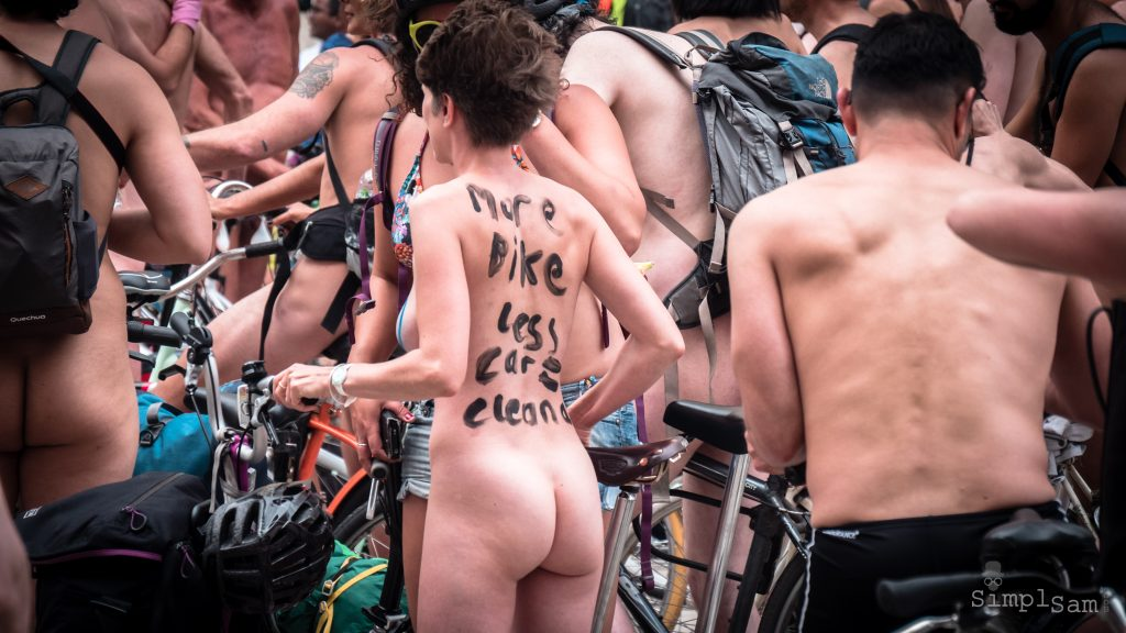 WNBR World London Naked Bike Ride 2018 - More Bikes less Cars woman