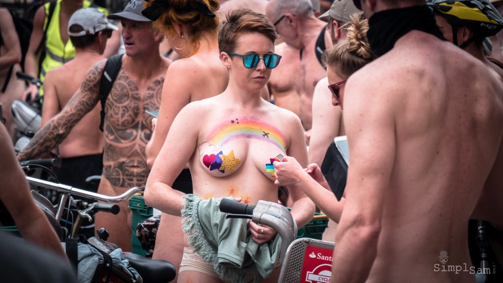WNBR World London Naked Bike Ride 2018 - Rainbow Girl