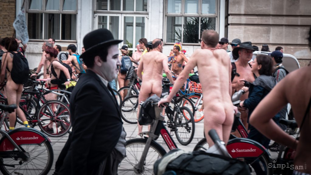 WNBR World London Naked Bike Ride 2018 - Charlie Chaplin