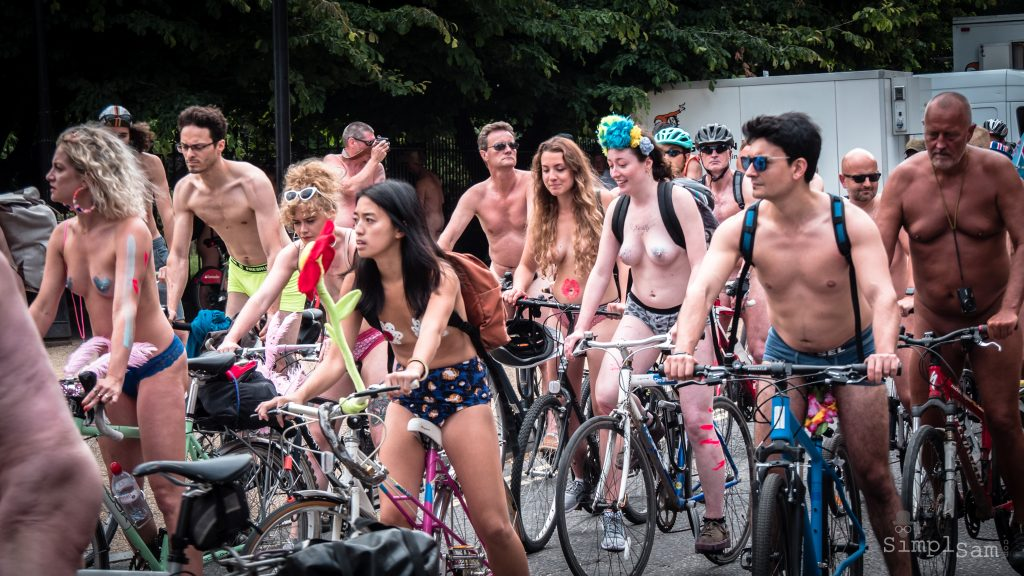 WNBR World London Naked Bike Ride 2018 - Group Scene